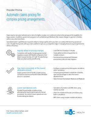 Provider Pricing Solution for Health Plans